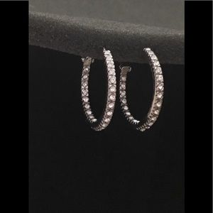 Jewelry - New Silver Crystal Inside Out Hoop Earrings